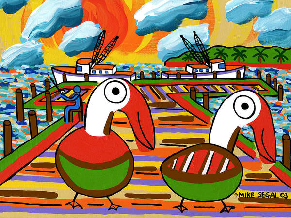 Pelicans Print featuring the painting Two Pelicans On The Pier-cedar Key by Mike Segal