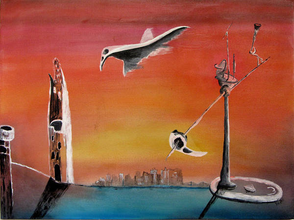 Uglydream Art Print featuring the painting Uglydream911 by Helmut Rottler