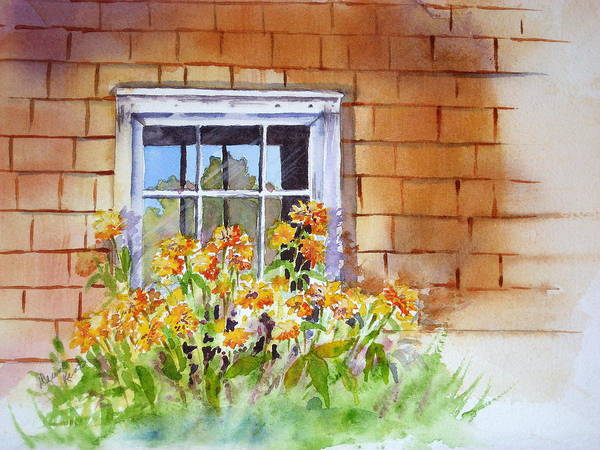 Landscape Art Print featuring the painting View Through The Window by Diane Lynn KENT