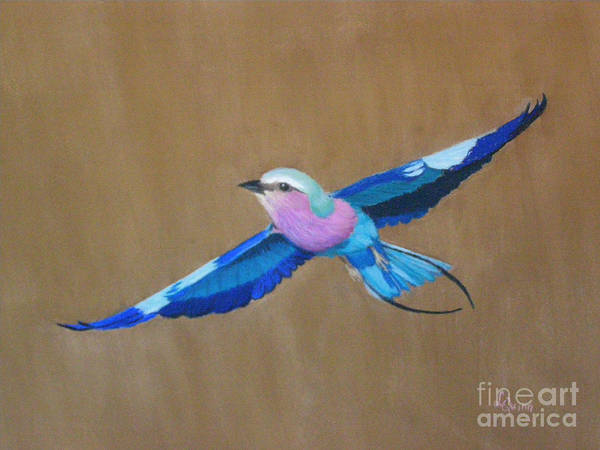 Colorful Bird Art Print featuring the painting Violet-breasted Roller Bird II by Lynn Quinn