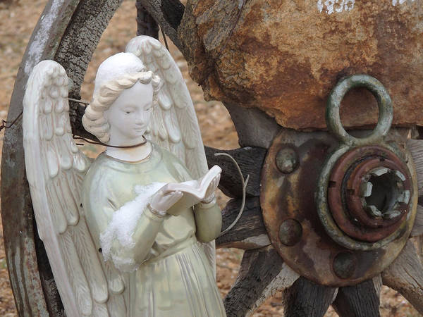 Cemetery Art Print featuring the photograph Wagon Wheel Angel by Donna Lee Young
