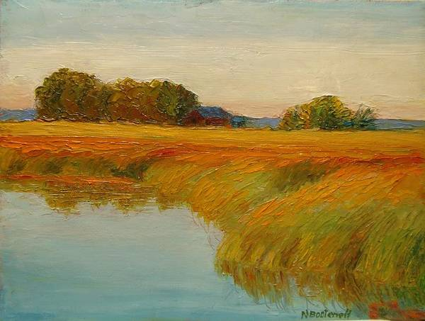 Landscape Art Print featuring the painting Warm Sunset On The Bog by Nicolas Bouteneff
