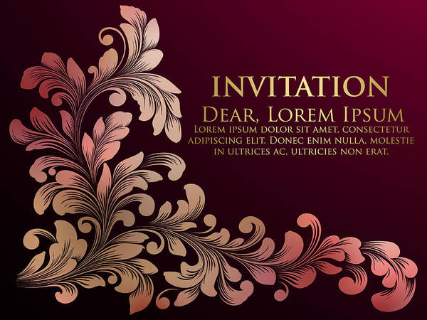 Wedding Invitation Card Vector Invitation Card With Elegant Text And Floral Ornament Hand Drawn Floral Element With Leaves And Flowers Exquisite