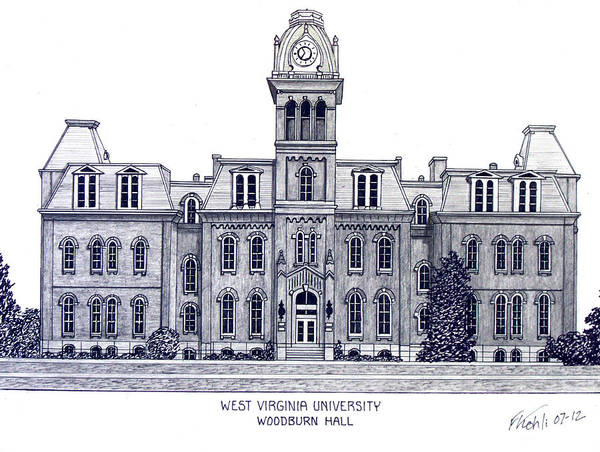West Virginia University Pen And Ink Drawing Art Print featuring the drawing West Virginia by Frederic Kohli