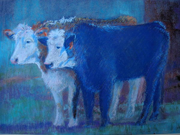 Herefords Art Print featuring the painting Whats Goin On Mom by Judy Fischer Walton