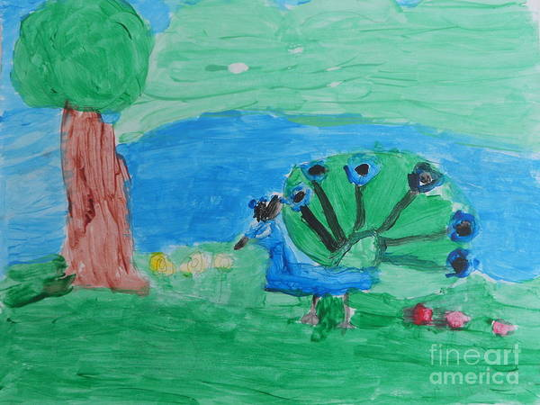 Whimsical Art Art Print featuring the painting Whimsical Peacock by Epic Luis Art