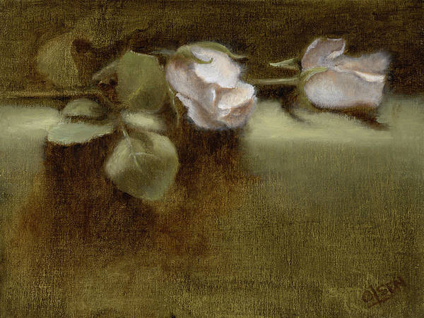 White Roses Art Print featuring the painting White Roses by Christy Olsen