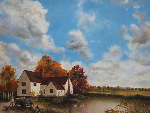 An Original Oil Painting By Cecilia Brendel - John Constable Painted Willy Lotts Cottage Landscape English England Countryside Country Landscape Hay Wain Flat Bush Iron Art Print featuring the painting Willy Lott's Cottage by Cecilia Brendel