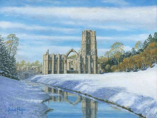 Landscape Art Print featuring the painting Winter Morning Fountains Abbey Yorkshire by Richard Harpum