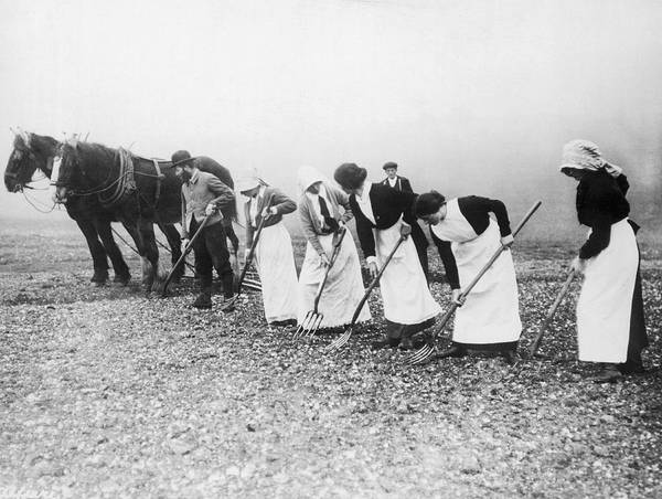 1035-842 Art Print featuring the photograph Women Learning Farming by Underwood Archives