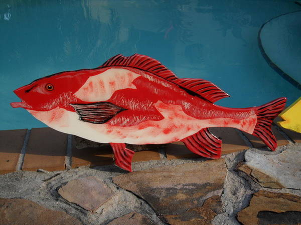 Fish Art Print featuring the mixed media Wooden Red Snapper by Val Oconnor