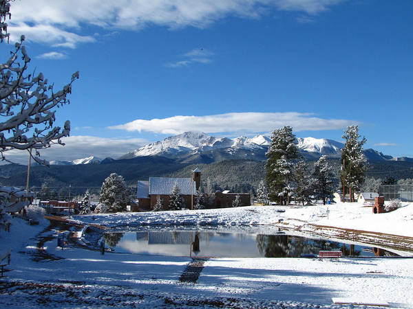 Pikes Peak Art Print featuring the photograph Woodland Parks Pikes Peak by Carol Milisen