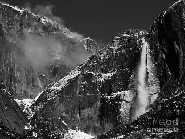 Yosemite Print featuring the photograph Yosemite Falls In Black And White by Bill Gallagher