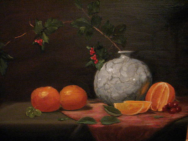 Still Life Art Print featuring the painting Asian Vase With Oranges by Iris Nazario Dziadul