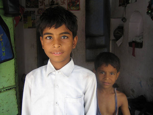 India Art Print featuring the photograph Children Of India by Kamel Rekouane