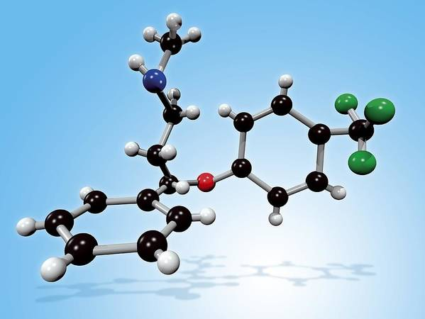 Prozac Art Print featuring the photograph Fluoxetine Drug Molecule by Miriam Maslo