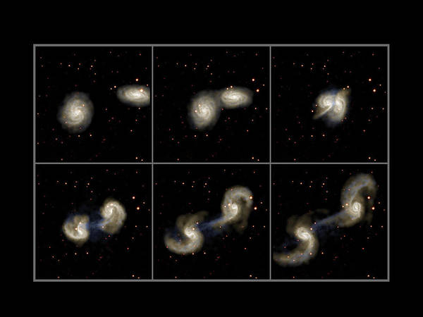 Collision Art Print featuring the photograph Galaxy Collision Model by Max Planck Institute For Astrophysics