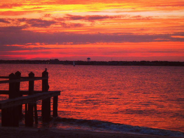 Ocean City Art Print featuring the photograph Ocean City Sunset by Mary McCusker