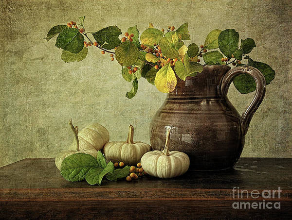 Autumn Art Print featuring the photograph Old Pitcher With Gourds by Sandra Cunningham
