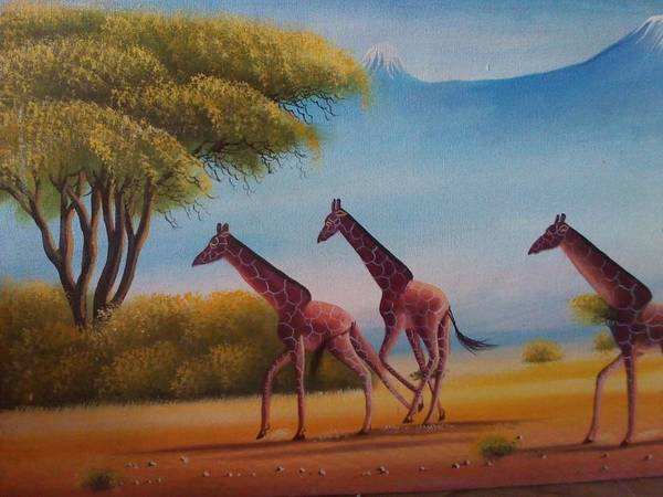 Art Print featuring the painting Running Zebras by John
