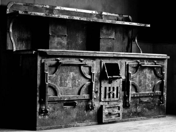 Stove Art Print featuring the photograph 1800's Stove Black And White by Joseph Noonan