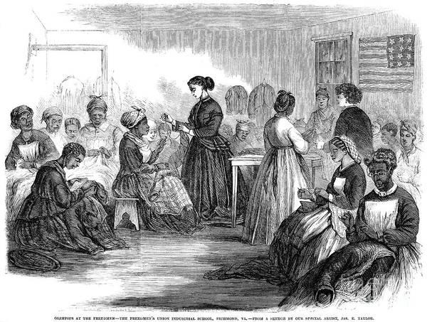 1866 Art Print featuring the photograph Freedmens School 1866 by Granger