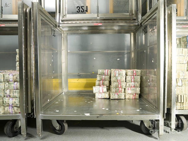 Architectural Art Print featuring the photograph Us Dollar Bills In A Bank Cart by Adam Crowley