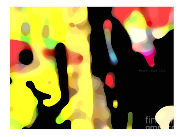 Abstract Art Print featuring the digital art Game - 2012 by Peter Szabo