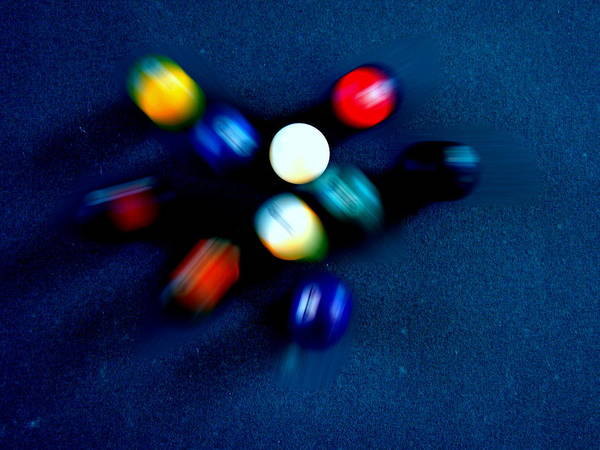Pool Art Print featuring the photograph 9 Ball Break by Nick Kloepping