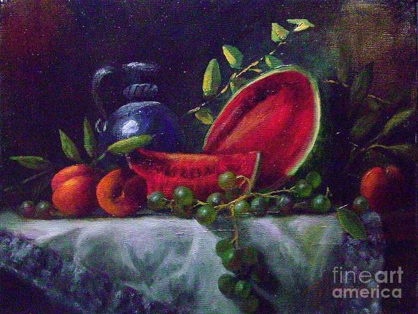 Watermelon Peaches Grapes Rembrandt Still Life Art Print featuring the painting A Slice Of Summer by Tom Jennerwein