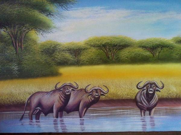 Art Print featuring the painting African Buffalo by John