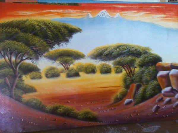 Art Print featuring the painting African Landscape by John