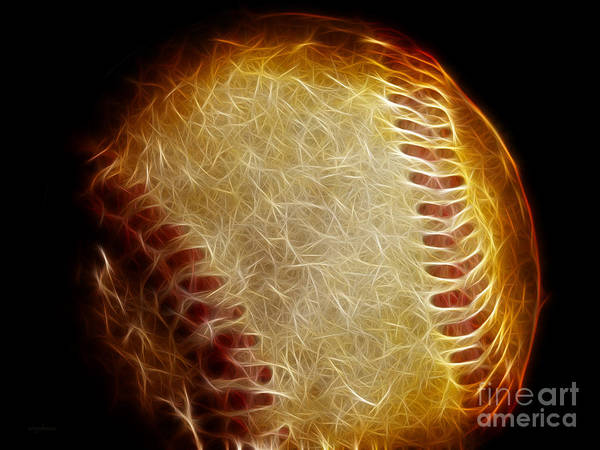 Baseball Print featuring the photograph All American Pastime - The Fastball by Wingsdomain Art and Photography