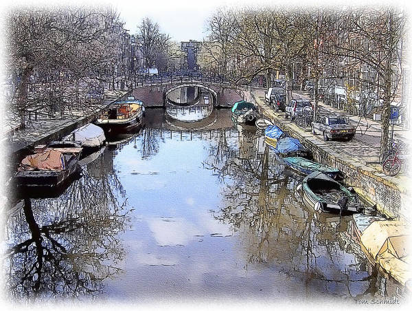 Amsterdam Art Print featuring the painting Amsterdam Canal by Tom Schmidt