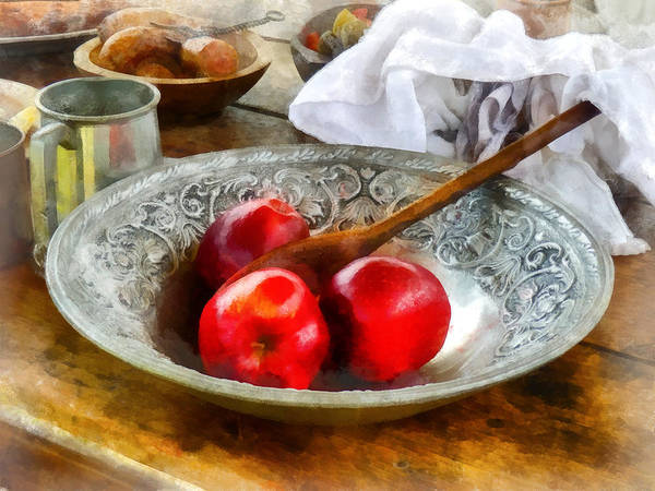 Meal Art Print featuring the photograph Apples In A Silver Bowl by Susan Savad