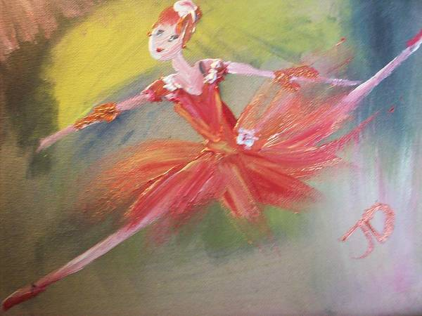 Red Art Print featuring the painting Ballerina In Red by Judith Desrosiers