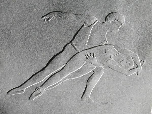 Ballet Dancers Art Print featuring the relief Ballet Dancers by Suhas Tavkar