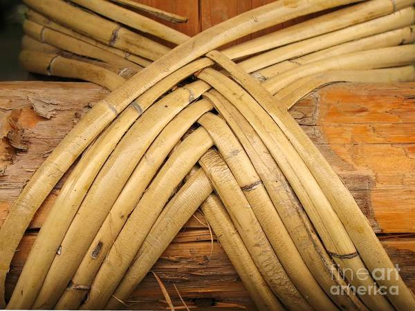 Bamboo Art Print featuring the photograph Bamboo And Wood Construction by Yali Shi