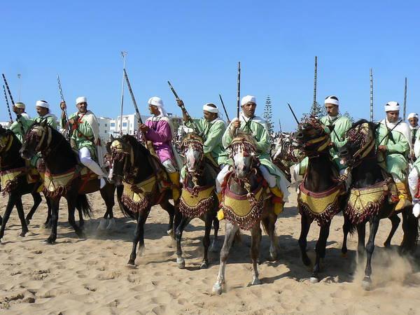 Essaouira Art Print featuring the photograph Bedouins In Essaouira by Alan Pillant