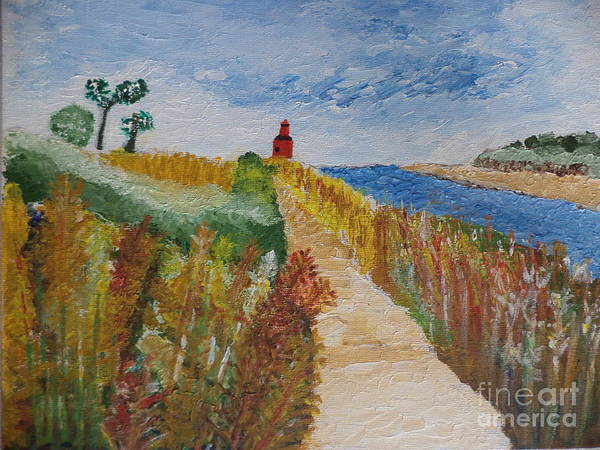 Lighthouse Art Print featuring the painting Big Red by Andrea A Patrick