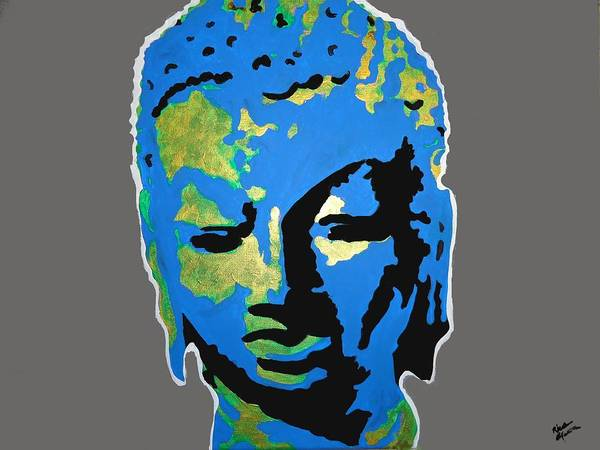 Buddha Art Print featuring the painting Blue Buddha by Nick Mantlo-Coots