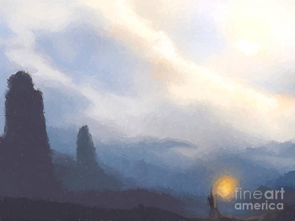 Mountains Art Print featuring the painting Blue Mountains by Pixel Chimp