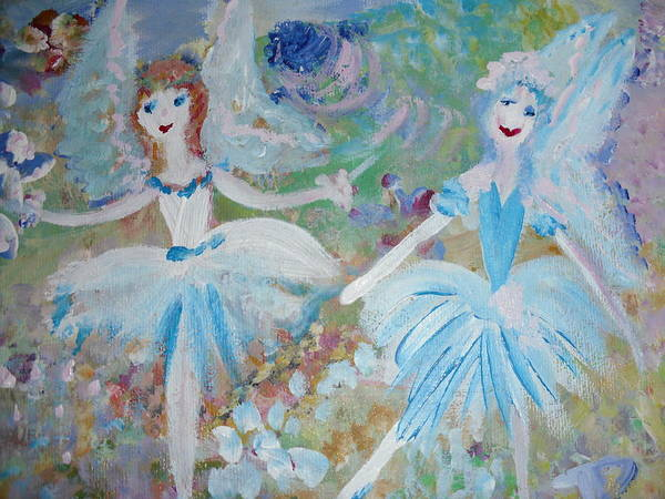 Blueberry Art Print featuring the painting Blueberry Fairies by Judith Desrosiers