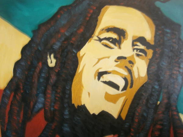 Oil Original Portrait Art Print featuring the painting Bob Marley-amazing Story by Bj A