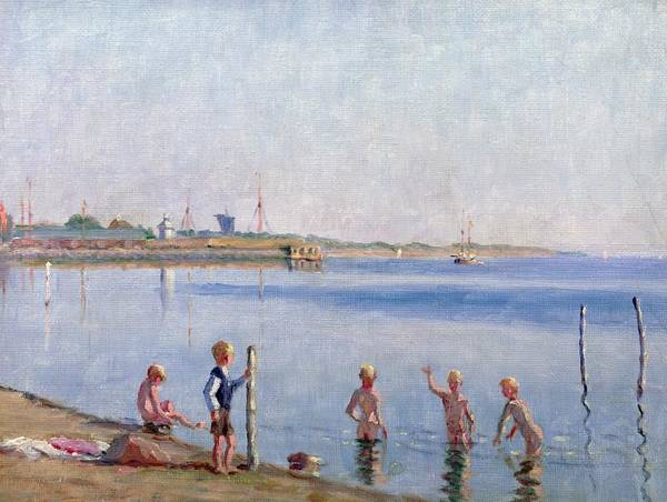 Skinny Dipping Art Print featuring the painting Boys At Water's Edge by Johan Rohde