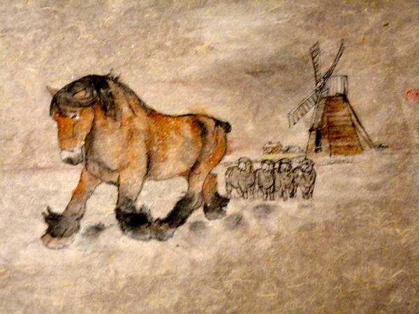 Equine. Draft. Snow. The Netherlands. Art Print featuring the painting Brabant Moves Out While The Sheep Stand Watching by Debbi Saccomanno Chan