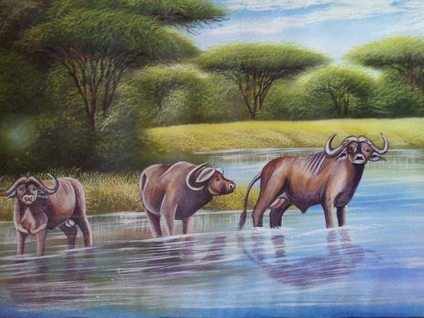 Art Print featuring the painting Buffalooes Watering by John