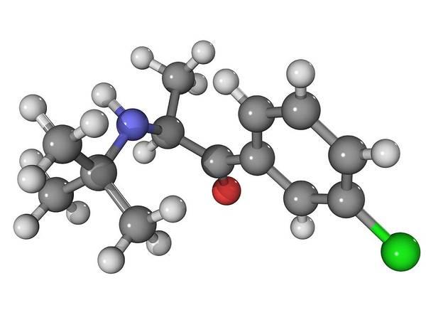 Molecular Art Print featuring the photograph Bupropion Antidepressant Drug Molecule by Laguna Design