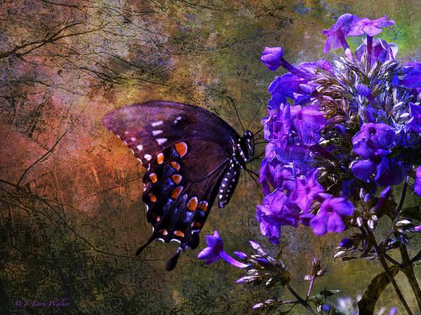 J Larry Walker Print featuring the digital art Busy Spicebush Butterfly by J Larry Walker