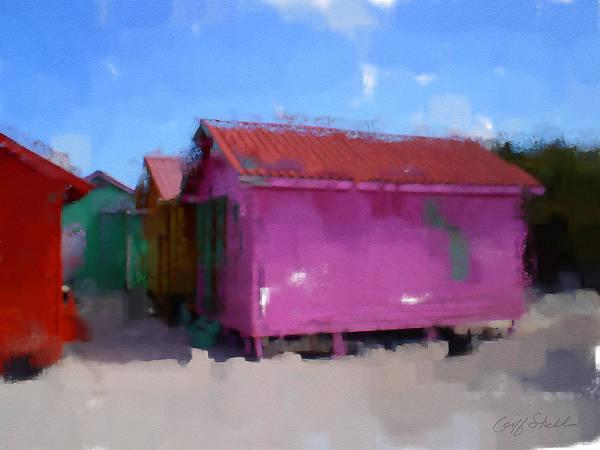Costa Maya Shanty Cottages Red Pink Blue Art Print featuring the digital art Costa Maya Shantys by Geoff Strehlow